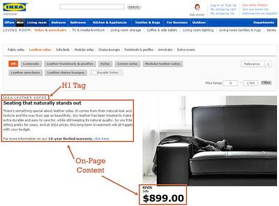 H1 Tag and On-Page Content example