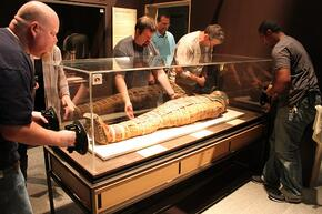 Facebook Photo of the Mummy Arrival at the Science Center of Iowa
