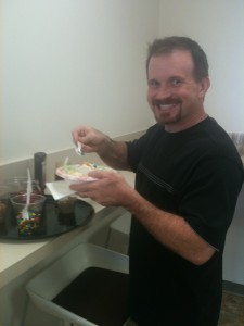 Jerad enjoying an ice cream sundae at the United Way campaign kick-off!
